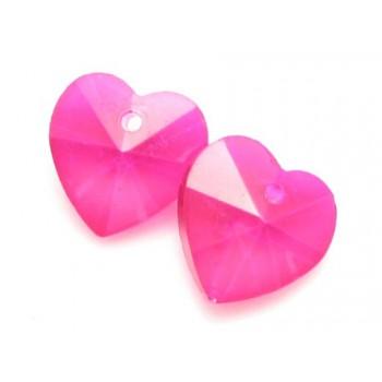 Glas facceteret hjerte Pink...