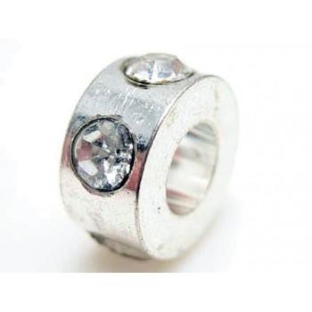 Sølv perle / led  med rhinstene 8 x 4 mm