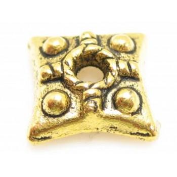 Guld double endekap firkantet 7mm - 4 stk