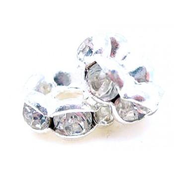 Sølv fs  rondel 6mm - klare sten - 4 stk