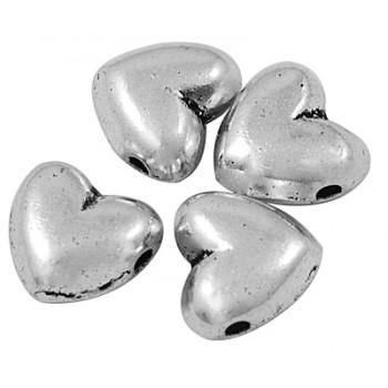 Tibet sølv hjerter 8,5 / 1,2 mm - 3 stk