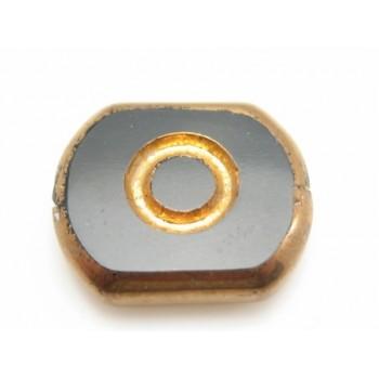 Glas perle med kobber 14 x 12 - 2 stk